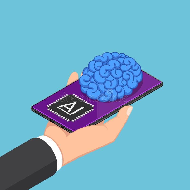 Isometric biznesmen ręki mienia smartphone z AI mózg ilustracja wektor