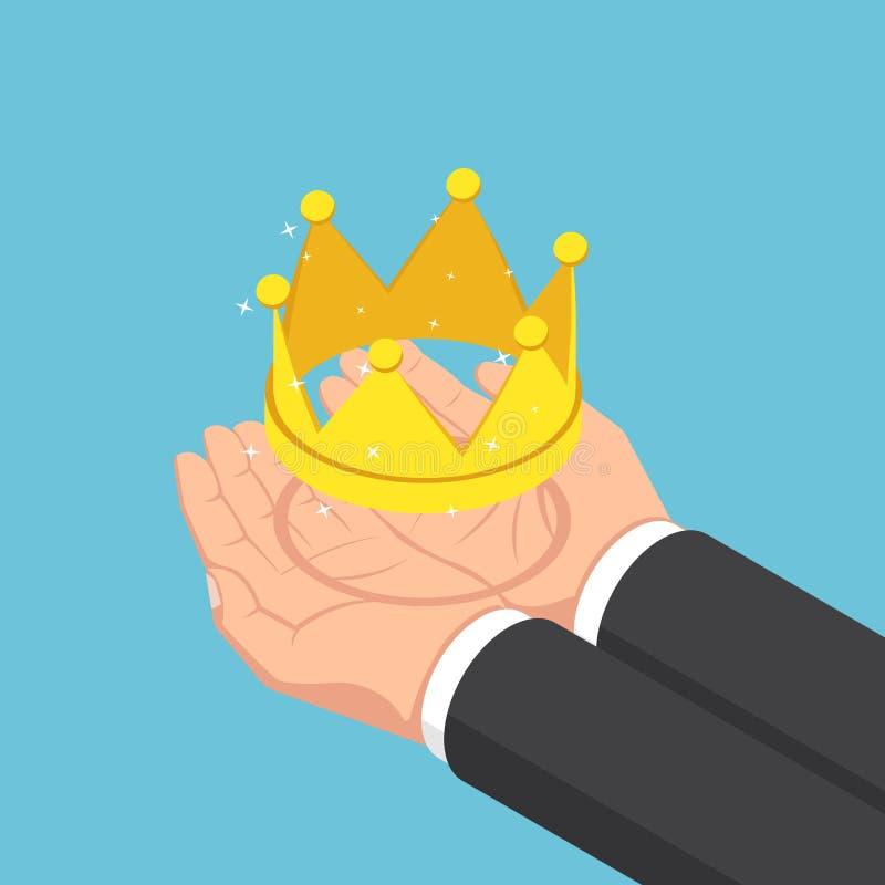Isometric biznesmen wręcza trzymać złotą koronę ilustracji