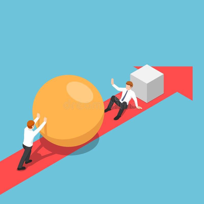 Isometric biznesmen z sferą iść szybkim niż jego rywal i był sprawnie eliminować on ilustracja wektor