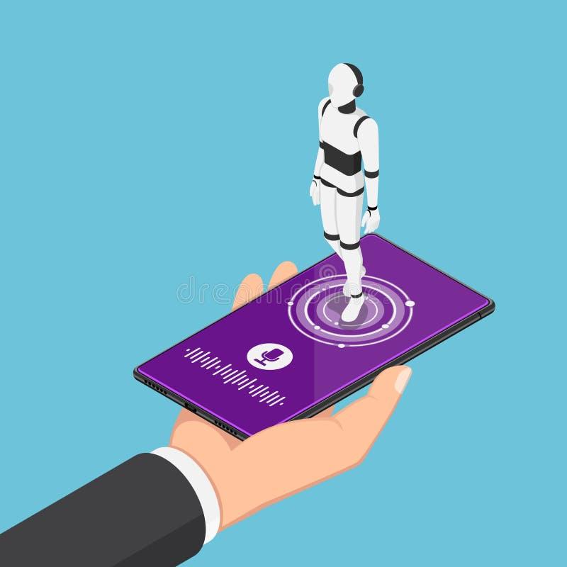 Isometric biznesmena mienia smartphone z ai robota asystentem ilustracji