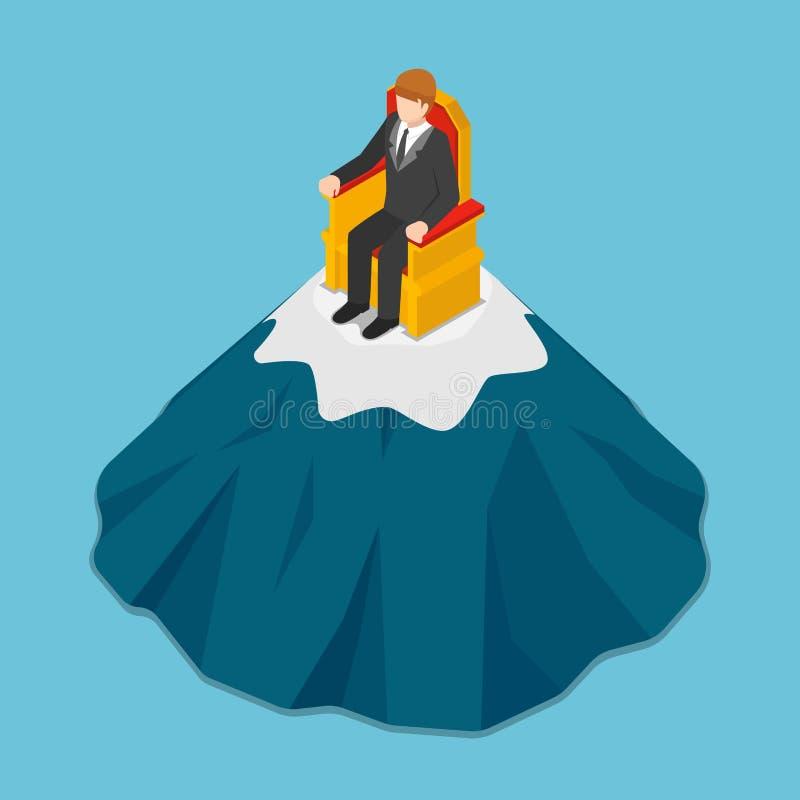 Isometric biznesmena obsiadanie na tronie na szczyciefal tg0 0n w tym stadium góry royalty ilustracja