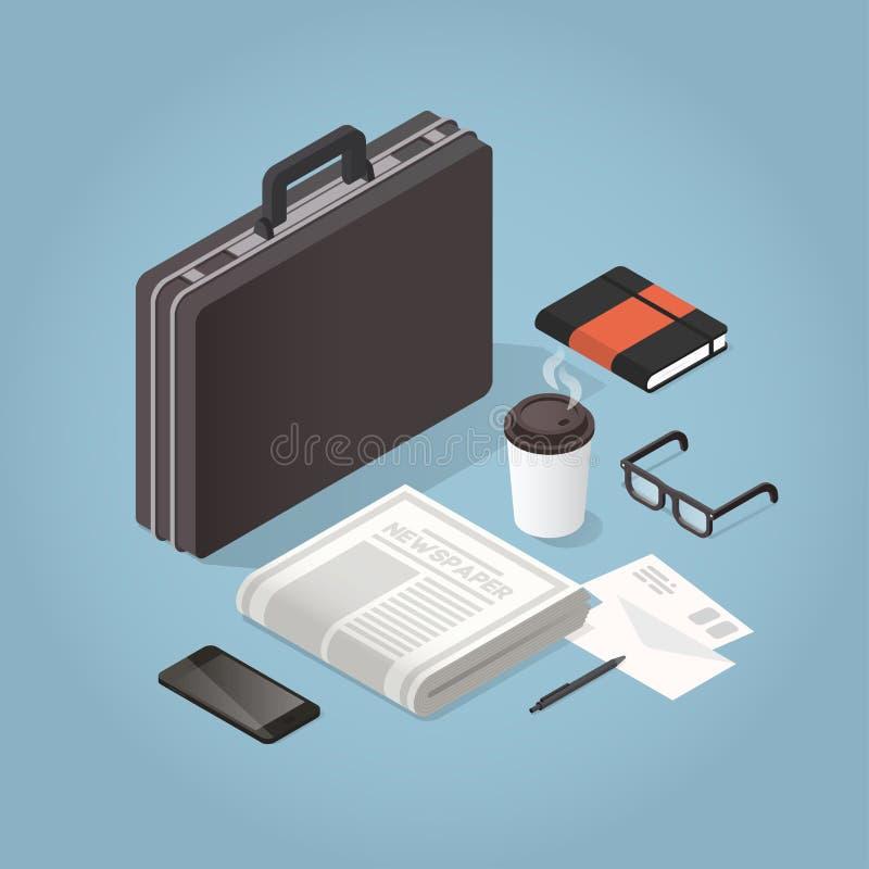 Isometric biznesmena skrzynki Ciężka ilustracja ilustracja wektor