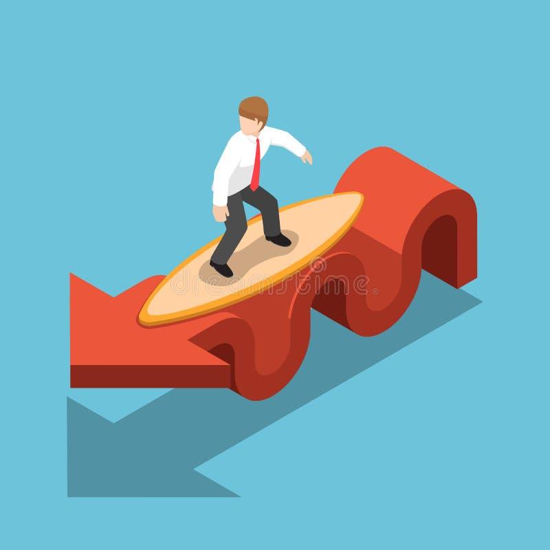 Isometric biznesmena surfing z surfboard na czerwonym wykresie royalty ilustracja