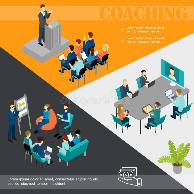 Isometric Biznesowego trenowania Kolorowy szablon royalty ilustracja