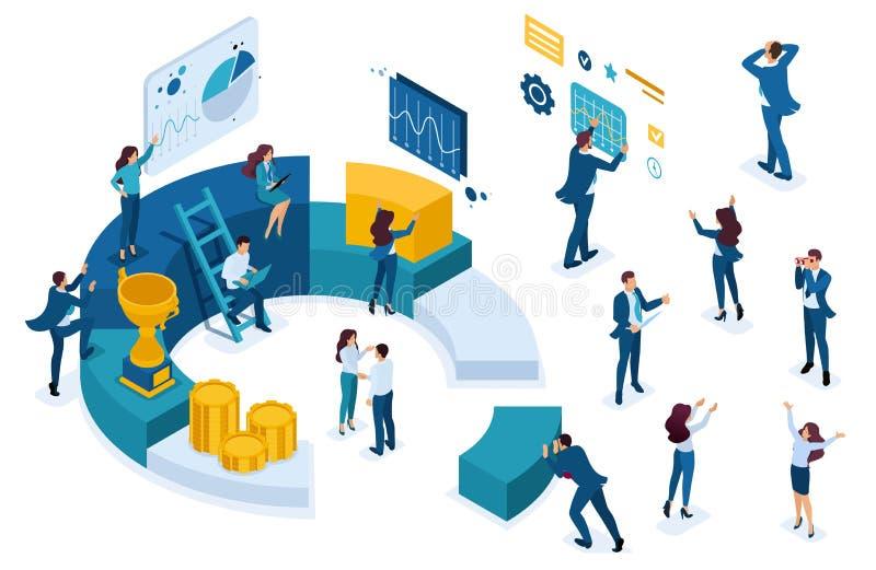 Isometric Biznesowi charaktery, Młodzi przedsiębiorcy ilustracji
