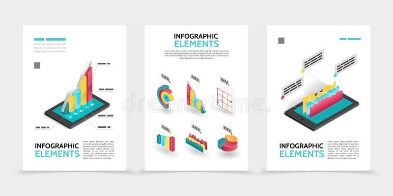 Isometric Biznesowi Infographic plakaty royalty ilustracja