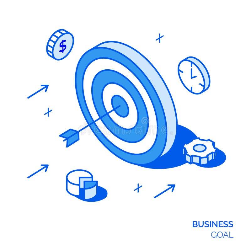 Isometric biznesowy linia bramkowa stylu pojęcie Cel ilustracja ilustracja wektor