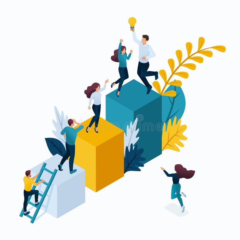 Isometric Biznesowy pojęcie, Młodzi przedsiębiorcy ilustracji