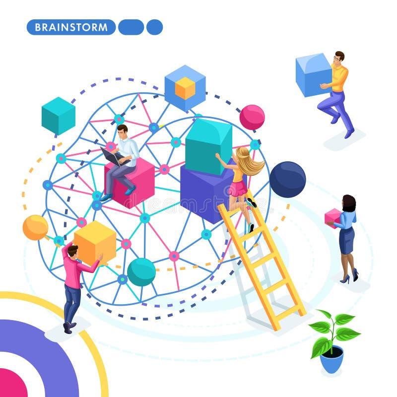 Isometric biznesowy pojęcie, praca zespołowa, brainstorming, strategia rozwój Młodzi przedsiębiorcy pracują na strategii biznesow royalty ilustracja
