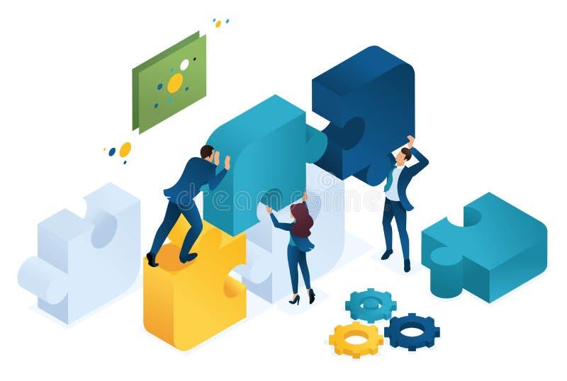 Isometric biznesowy wspólny projekt duża drużyna, praca zespołowa, brainstorming Poj?cie dla sie? projekta ilustracji