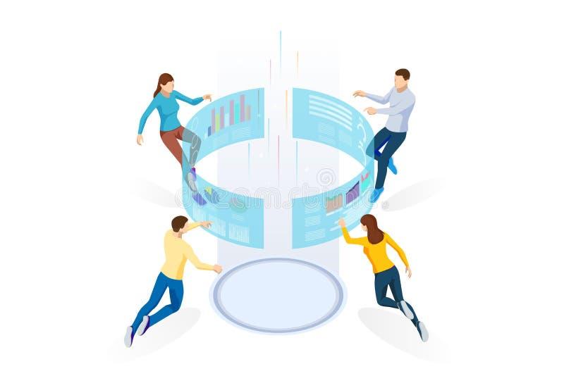 Isometric Biznesowych dane analityka zarządzanie procesami lub inteligenci deska rozdzielcza na wirtualnym ekranie pokazuje sprze ilustracji