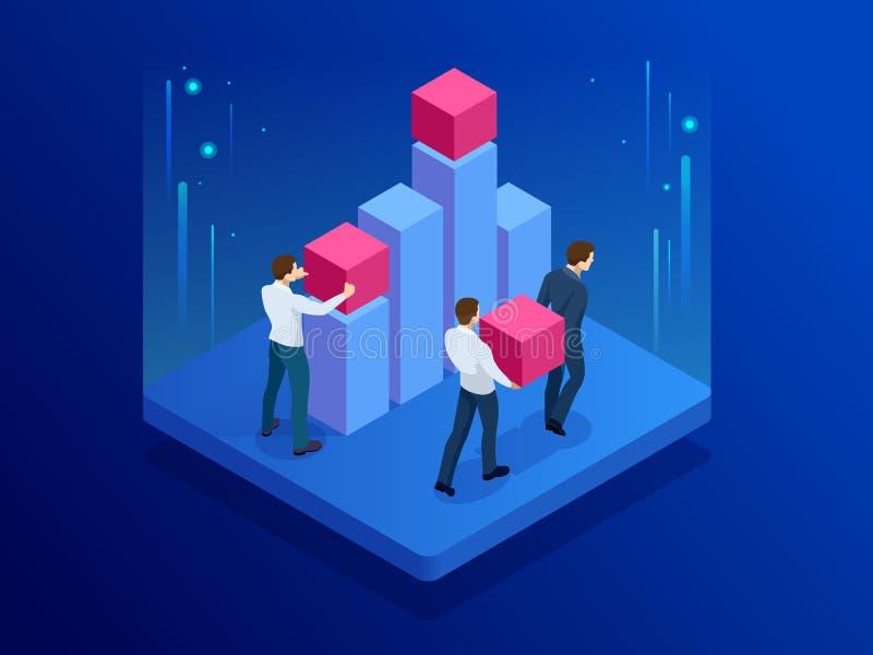 Isometric biznesu dane drużynowa robi analiza i statystyki pojęcie Dane Visualisation również zwrócić corel ilustracji wektora ilustracja wektor