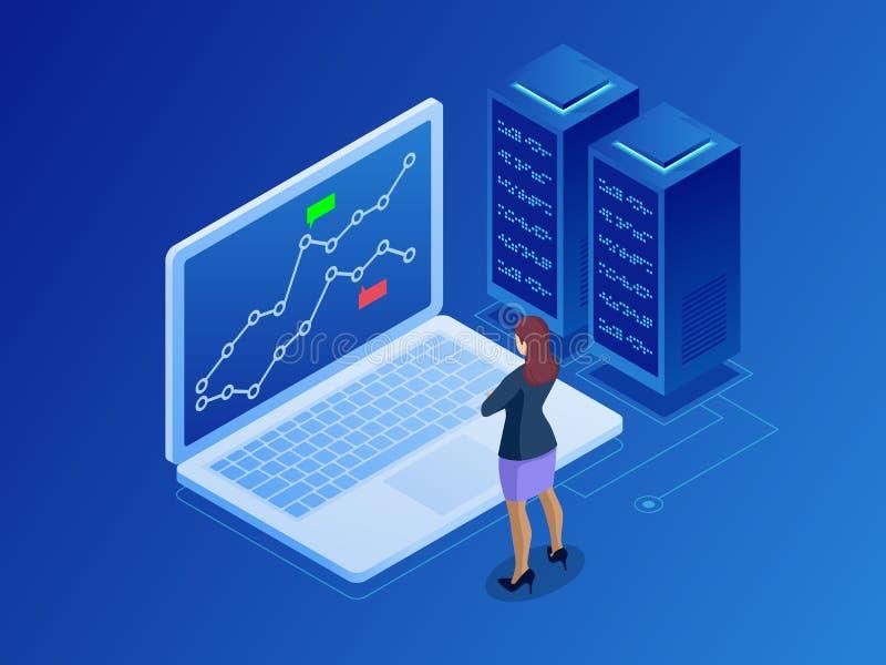 Isometric bizneswomany handluje zapasy online Akcyjny makler patrzeje wykresy, wskaźniki i liczby na wieloskładnikowym komputerze ilustracja wektor