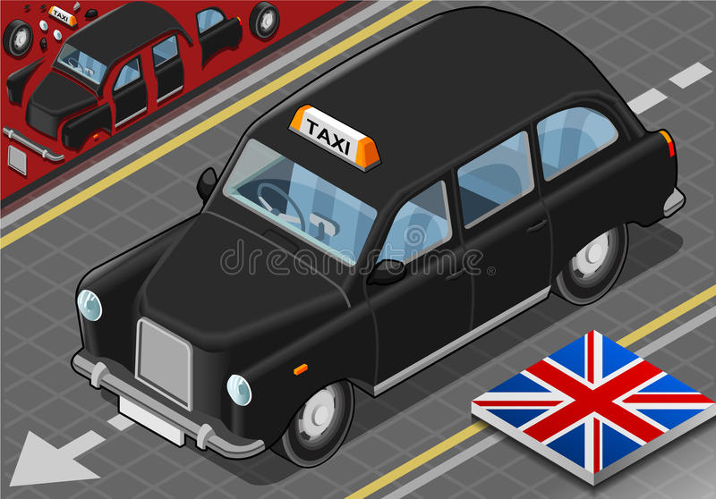 Isometric Black London Taxi in Front View stock illustration