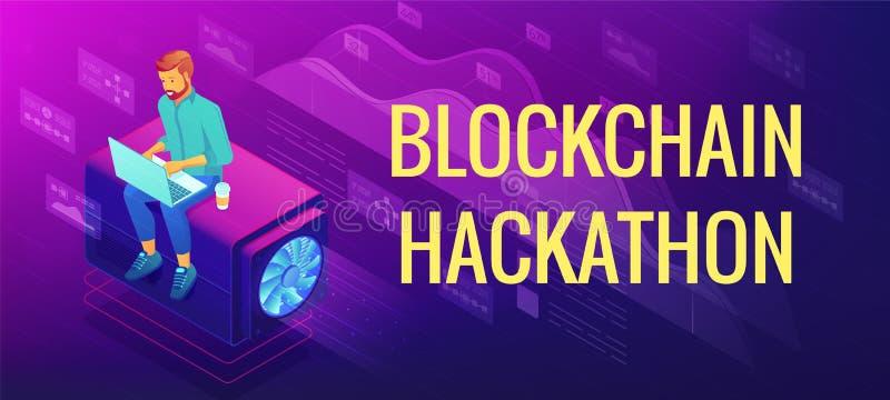 Isometric blockchain hackathon pojęcie ilustracji