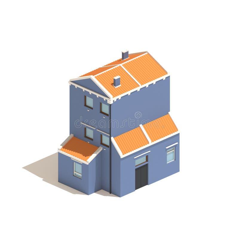 Isometric blue house isolated on white background royalty free illustration