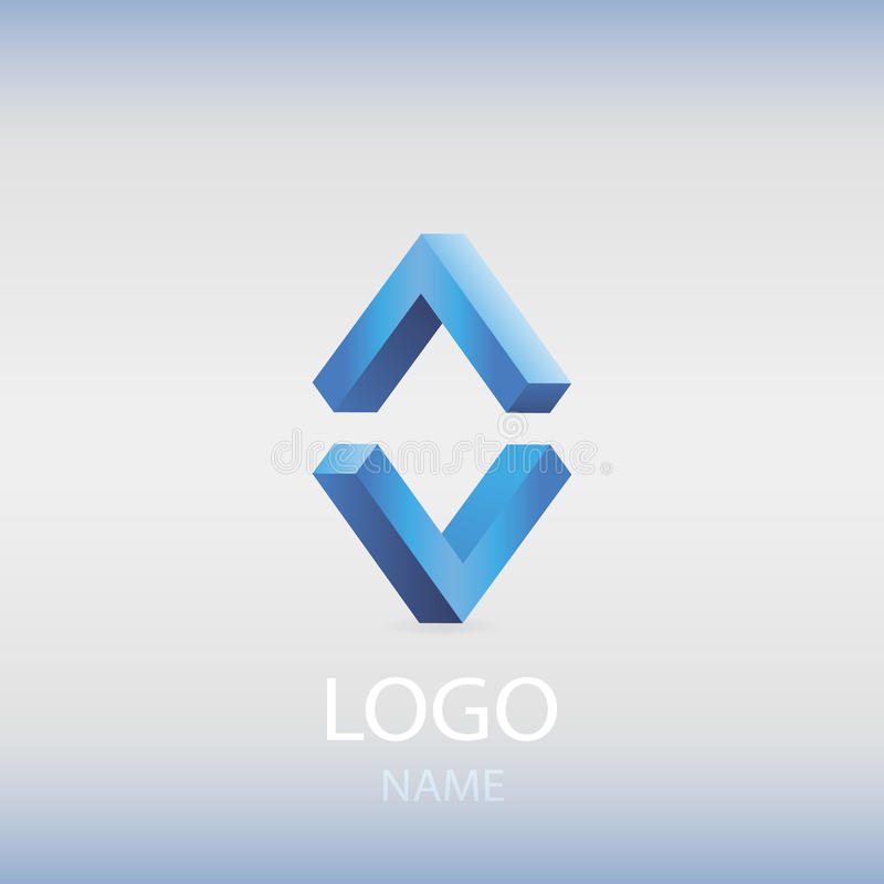Isometric blue logo. stock photo
