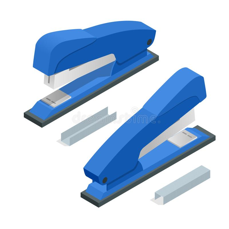 Free Isometric Blue Stapler And Stapleson A White Background. Office Stationery Paper Stapler Vector Illustration Stock Photos - 134279983