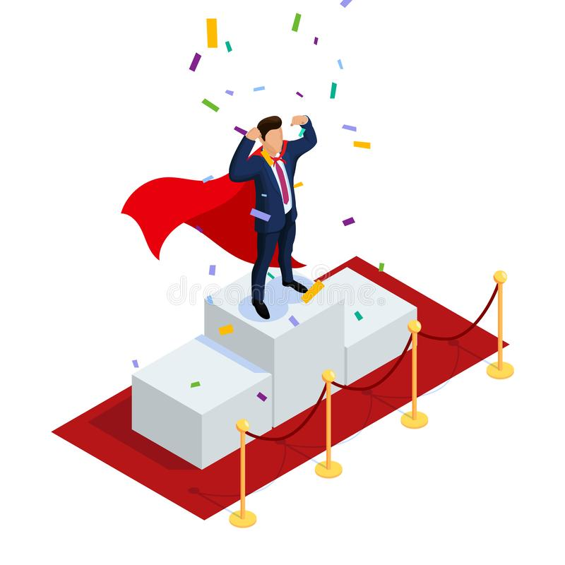 Isometric bohatera kierownika lub biznesmena pojęcie z charakterami Może używać dla sieć sztandaru, infographics, bohaterów wizer royalty ilustracja