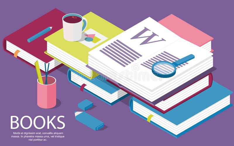 Isometric books. Creative concept for writing or blogging, school education, vector illustration
