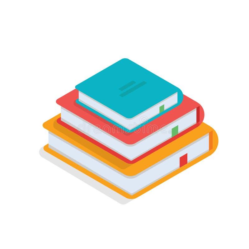 Isometric books icon. Vector illustration stock illustration