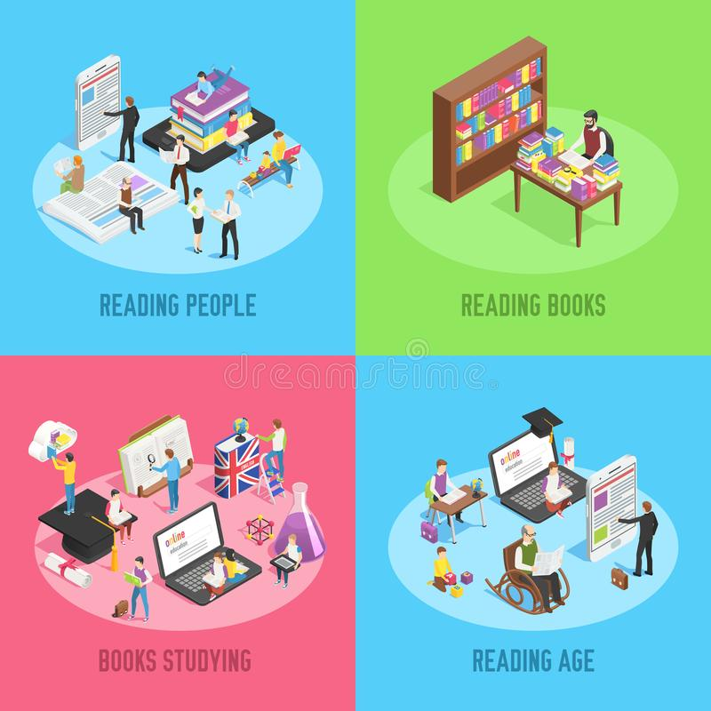 Isometric books reading. Educated people, school child studying schoolbook and student read newspaper or book 3d vector royalty free illustration