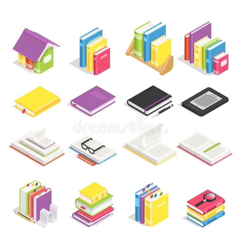 Isometric books. School textbook, book with bookmark and notebook with pen. Stack of textbooks on library bookshelf royalty free illustration
