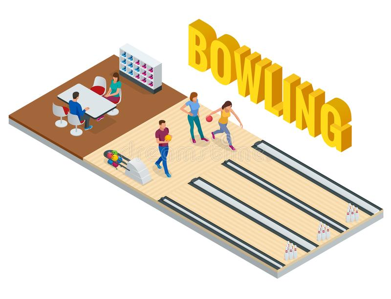 Isometric Bowling Center Interior with Game Equipment. Vector Bowling Alley for Game and Party. vector illustration