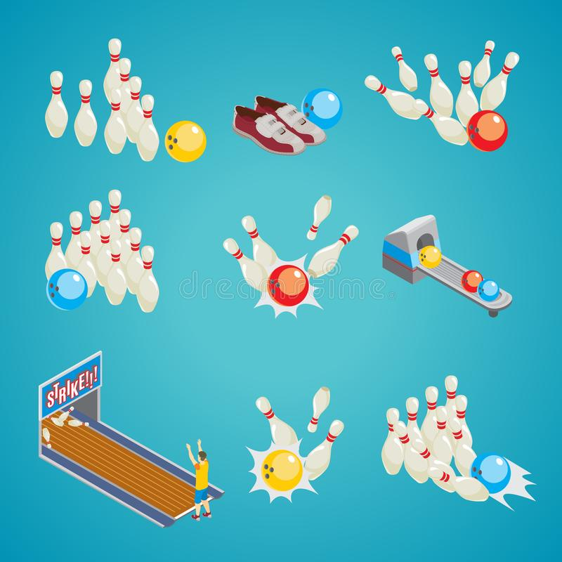 Isometric Bowling Game Elements Collection royalty free illustration