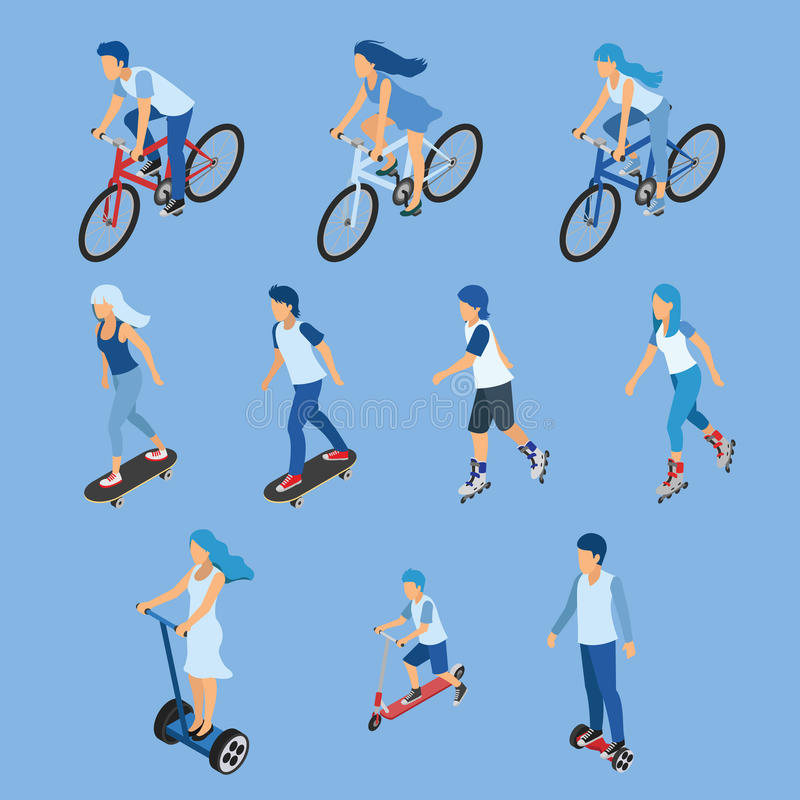Isometric Boy, girl and kid riding bicycle, skateboard, scooter stock illustration