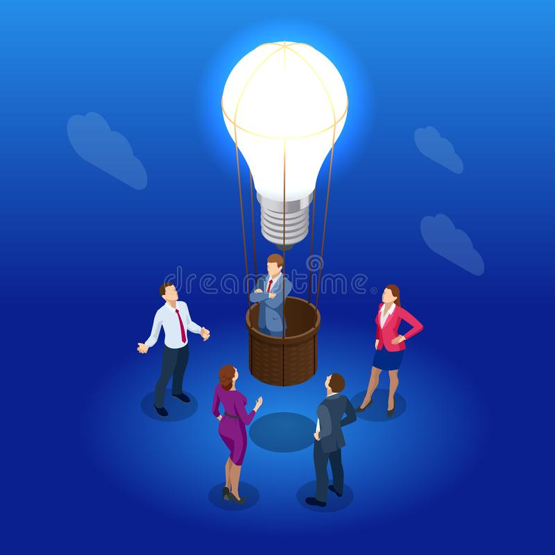 Isometric Brainstorming and Business Meeting concept. Idea and business for teamwork. People, team, light bulb. Vector stock illustration