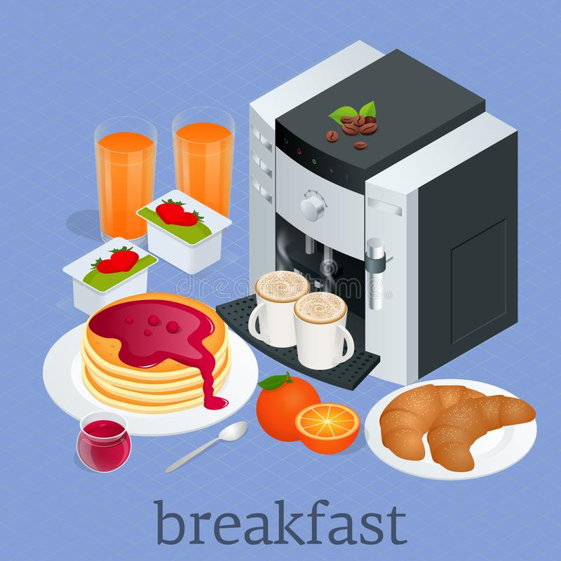 Isometric Breakfast and kitchen equipment concept. Breakfast served with coffee, orange juice, croissants, cereals and royalty free illustration
