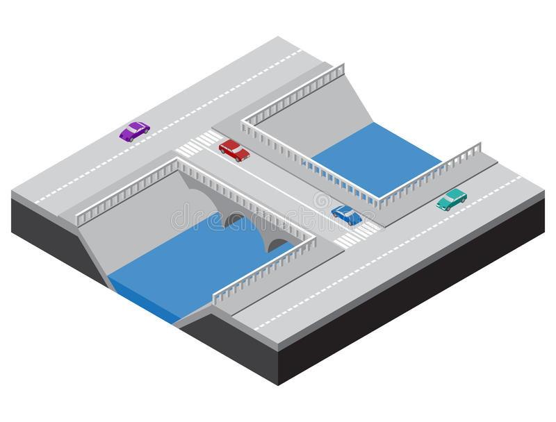 Isometric bridge across a river with roads. Sidewalks and cars. Vector illustration for design of various applications vector illustration