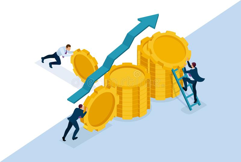 Isometric Bright concept site Business investment in business development, entrepreneurs build savings. Concept for web design royalty free illustration