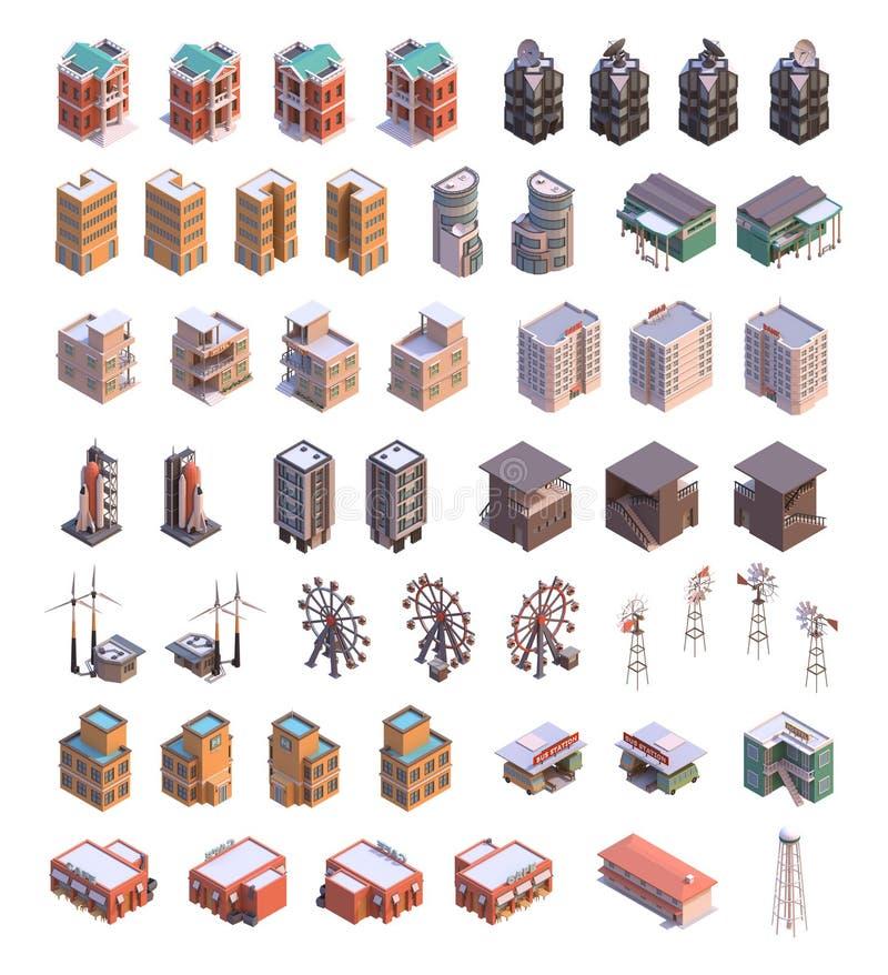 Isometric budynek ikony ilustracja wektor