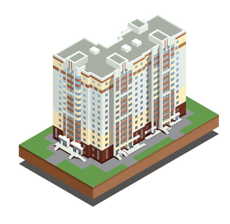 Isometric budynek nieruchomość Mieszkaniowy dom wektor - miasto budynki - dekoracyjne ikony ustawia - ilustracja wektor