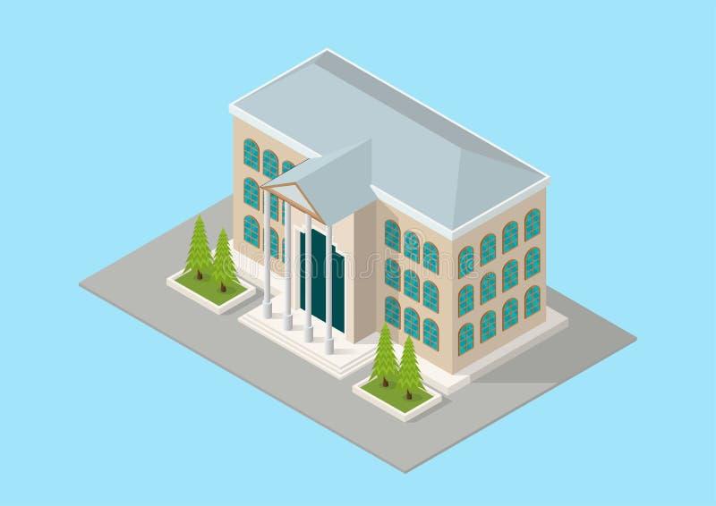 Isometric budynek szkoła lub sąd ilustracji