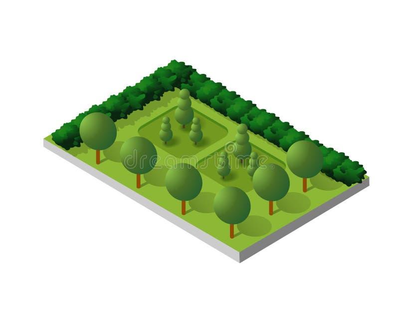 Isometric budynku miasta park ilustracji