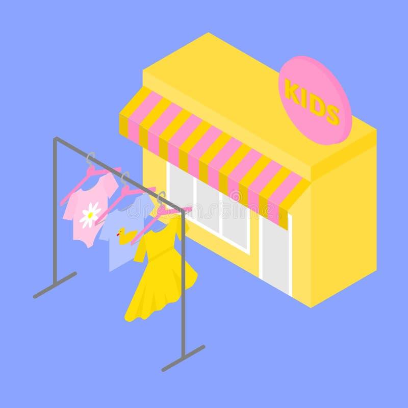 Isometric budynku sklepu sprzedaży pojęcie Dzieciaki odziewają na wieszaku Dziecko stroju mody kolekcja royalty ilustracja