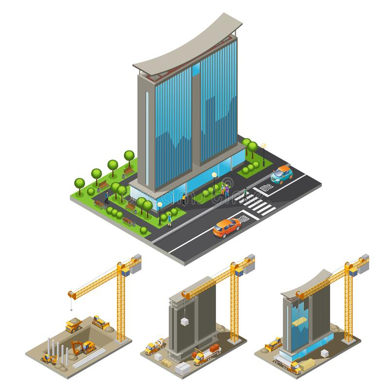 Free Isometric Building Construction Process Concept Royalty Free Stock Image - 213349156