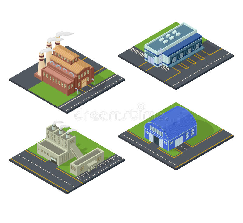 Isometric building vector set. stock illustration