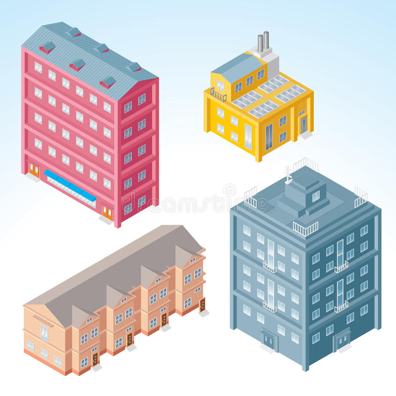 Download Isometric Buildings stock vector. Image of house, fabric - 18198575