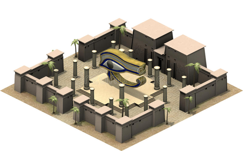 Isometric buildings of ancient Egypt, eye of Horus. 3D rendering vector illustration