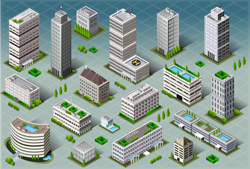 Isometric Buildings. Detailed illustration of a Isometric Buildings This illustration is saved in EPS10 with color space in RGB