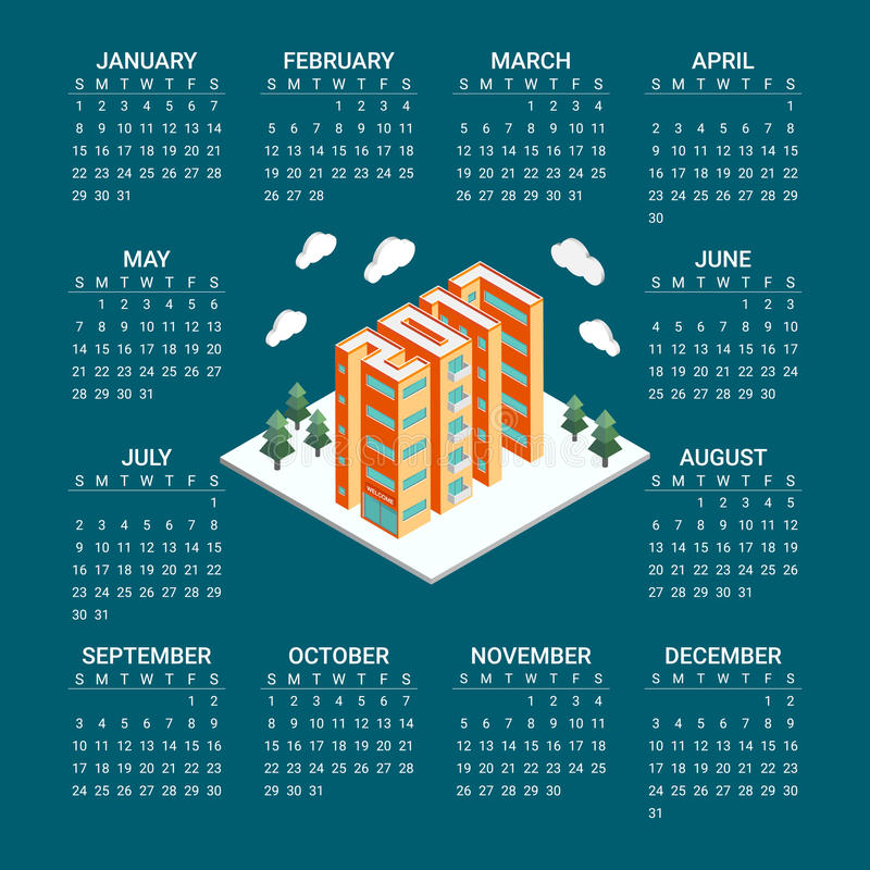 Calendar Poster Design : Isometric buildings in the form of new year poster