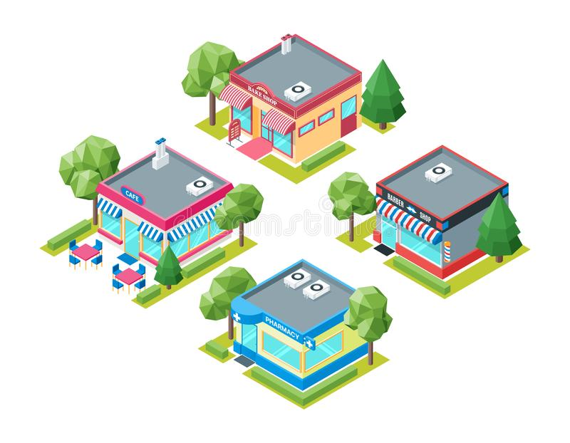 Isometric buildings set stock illustration