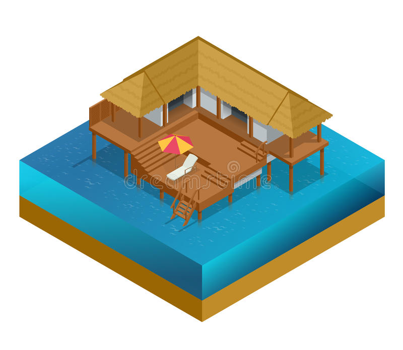 Isometric bungalow. Summer house. Wooden villa suite. Romantic cozy bungalow or small apartments building for rent or. Living. Timber cottage vector stock illustration