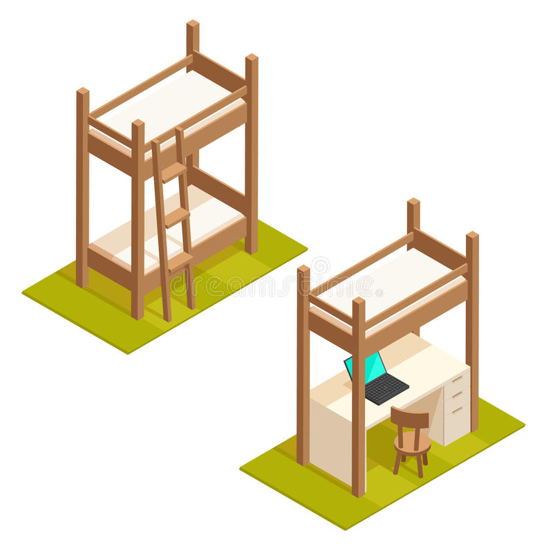 Isometric bunk bed and loft bed illustration. royalty free illustration