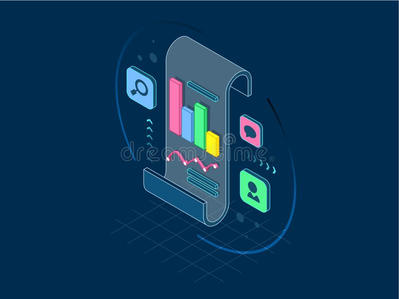 Isometric business analysis and planning, consulting, project management, financial report and strategy concept, line vector illustration