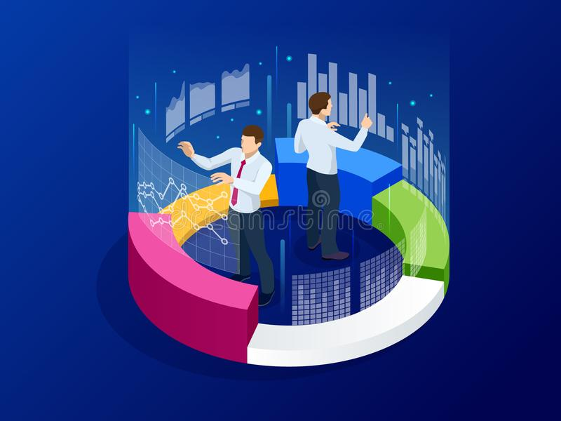 Isometric business analytics, strategy and planning. Technology, Internet and network concept. Data and investments vector illustration